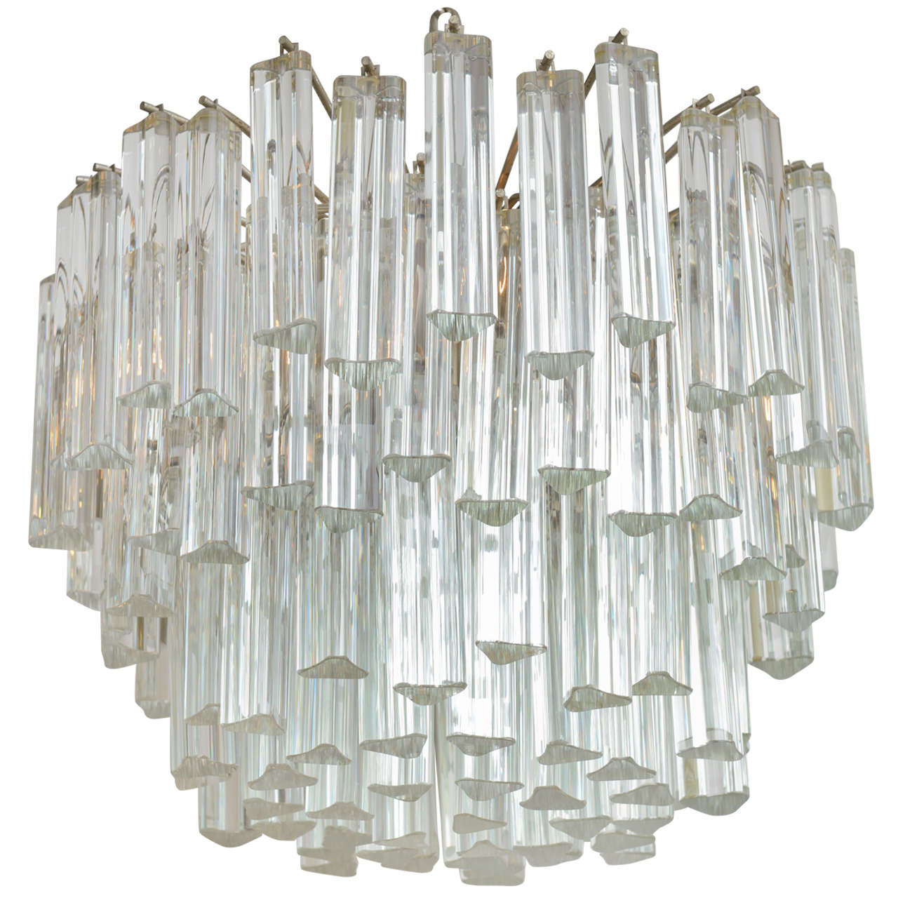 Lush Camer Glass Chandelier with Venini Triedri Crystals For Sale