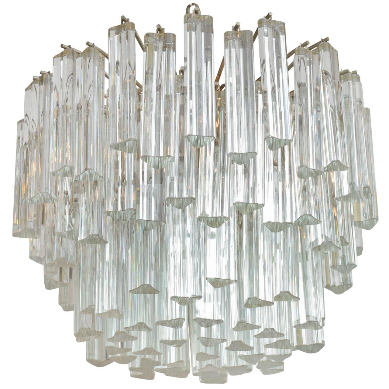 Lush Camer Glass Chandelier with Venini Triedri Crystals