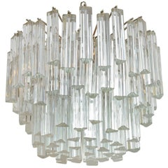 Lush MidCentury Modern Camer Glass Chandelier with Venini Triedri Crystals 1960s