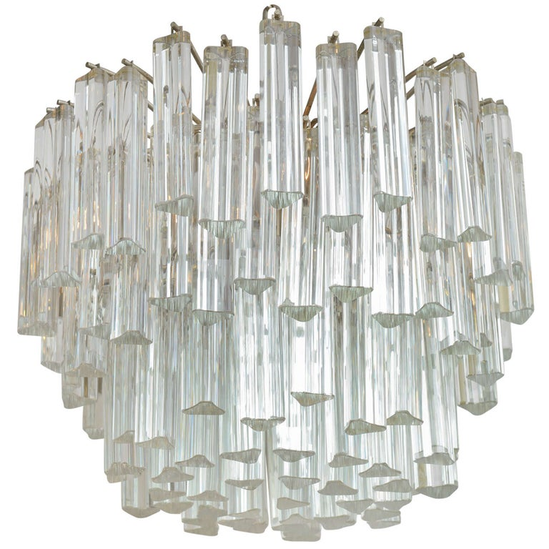 Lush MidCentury Modern Camer Glass Chandelier with Venini Triedri Crystals 1960s For Sale