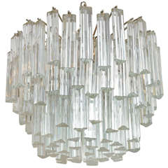 Lush 1960s Camer Glass Chandelier with Venini Triedri Crystals