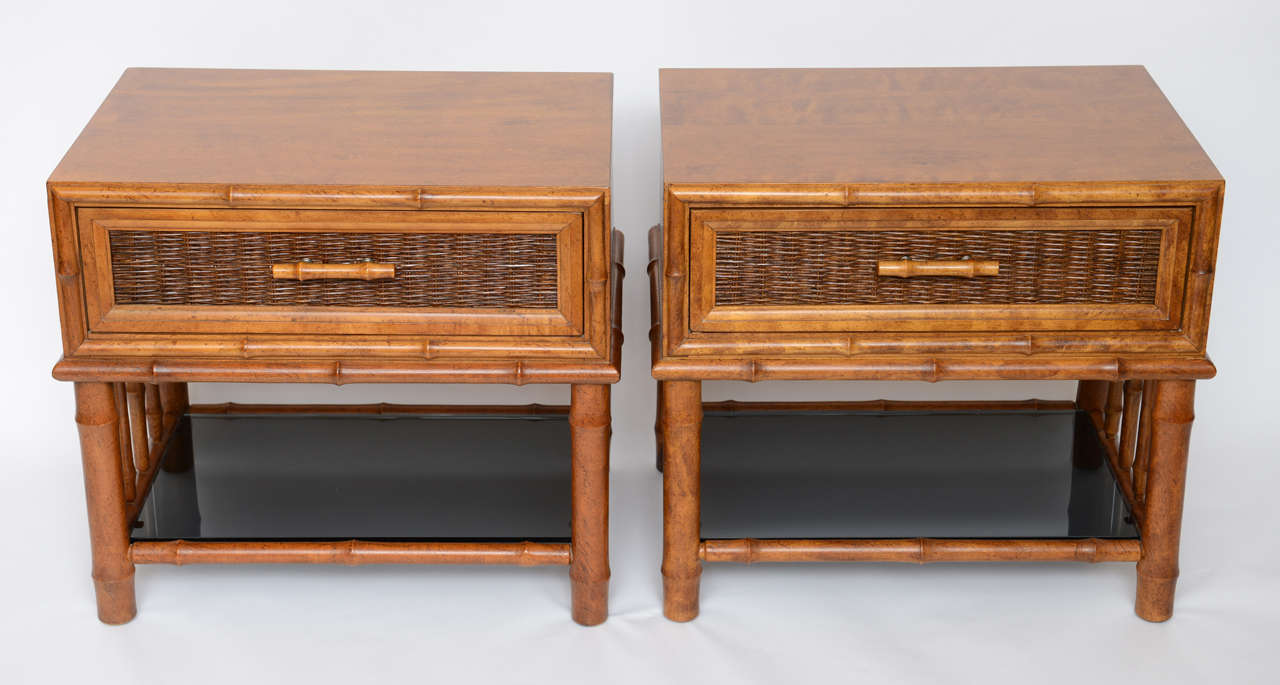 Glass Bedside Table : Stellar Walnut Bamboo, Cane and Glass Bedside Tables at 1stdibs