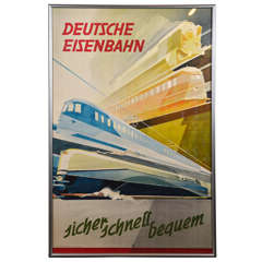 Machine Age Art Deco German Streamline Modernist Transportation Poster Train