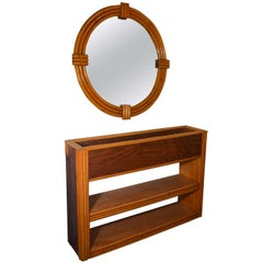 Art Deco Rattan Planter/Shelf and Mirror, After Paul Frankl
