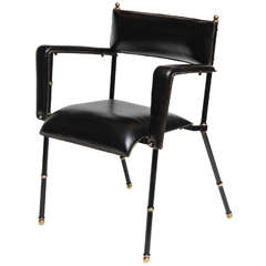 Set of Four Black Leather Armchairs by Jacques Adnet