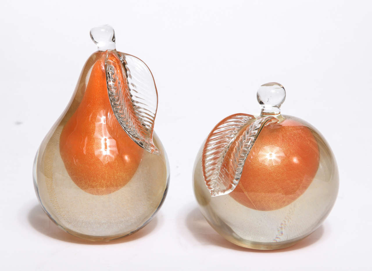 Pair of Barbini Sommerso Murano Fruit Bookends image 2