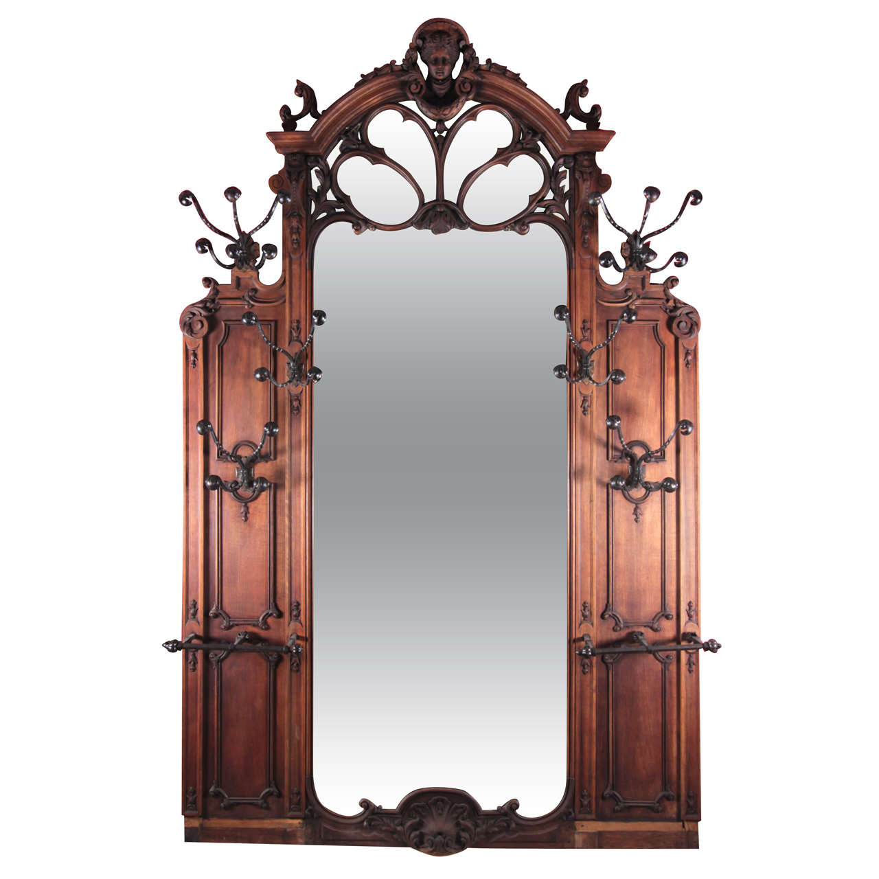 Large scale art nouveau wooden hall tree mirror at 1stdibs Large wooden mirrors for sale