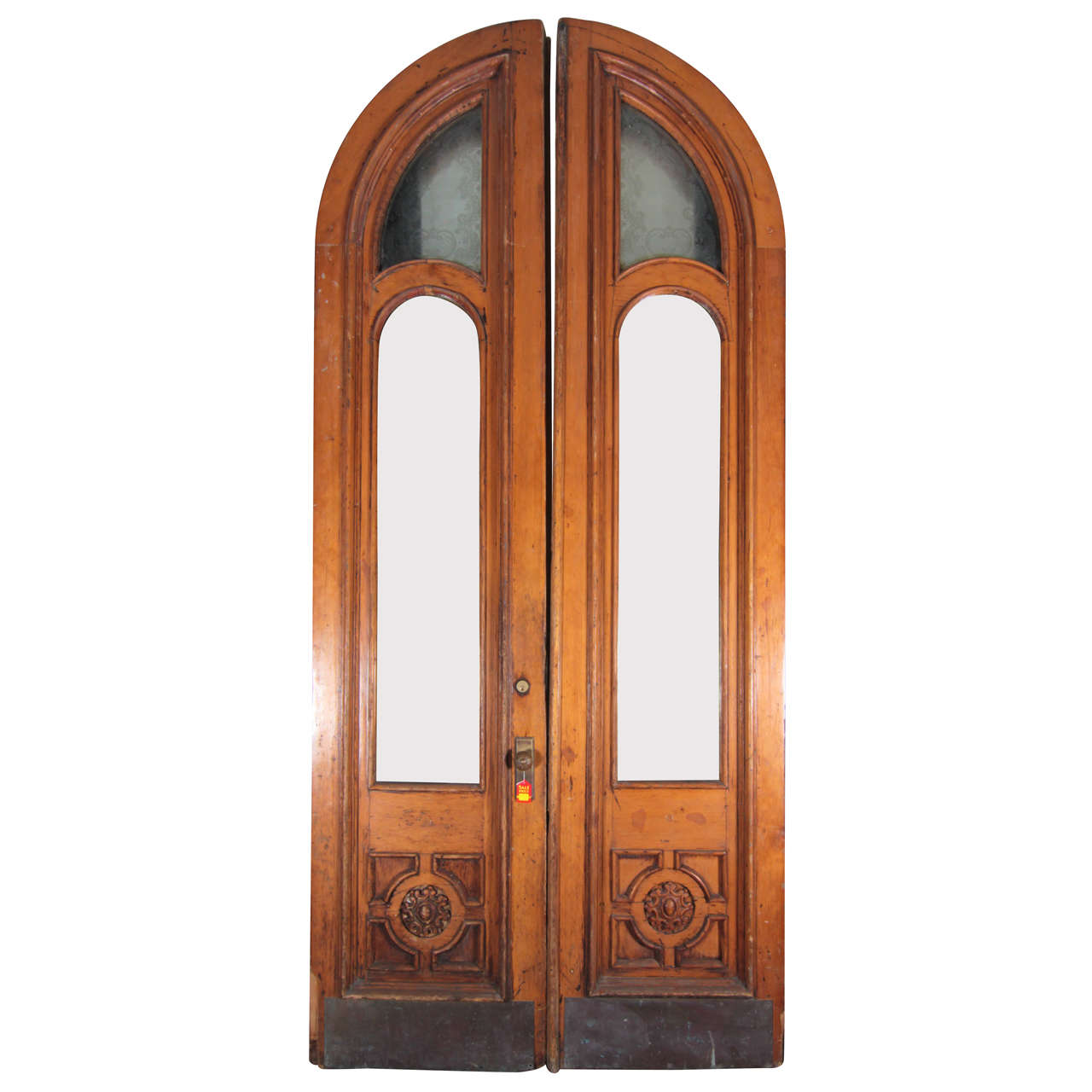 1800s large scale arched brownstone etched glass entry for Large glass exterior doors