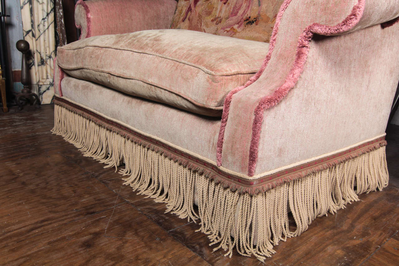 Oversized Victorian Style High Back Loveseat With Tapestry At 1stdibs