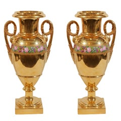 Pair Antique Porcelain Mantle Vases Gilded Made in France circa 1830