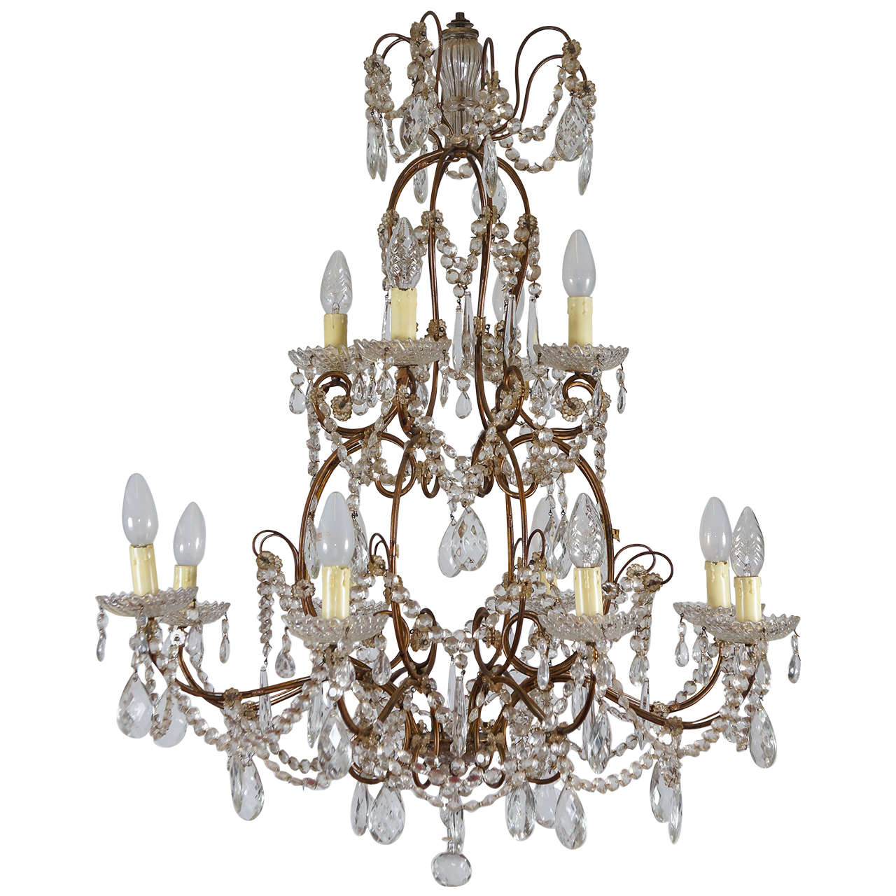 Crystal and Gilt 12-Light Chandelier