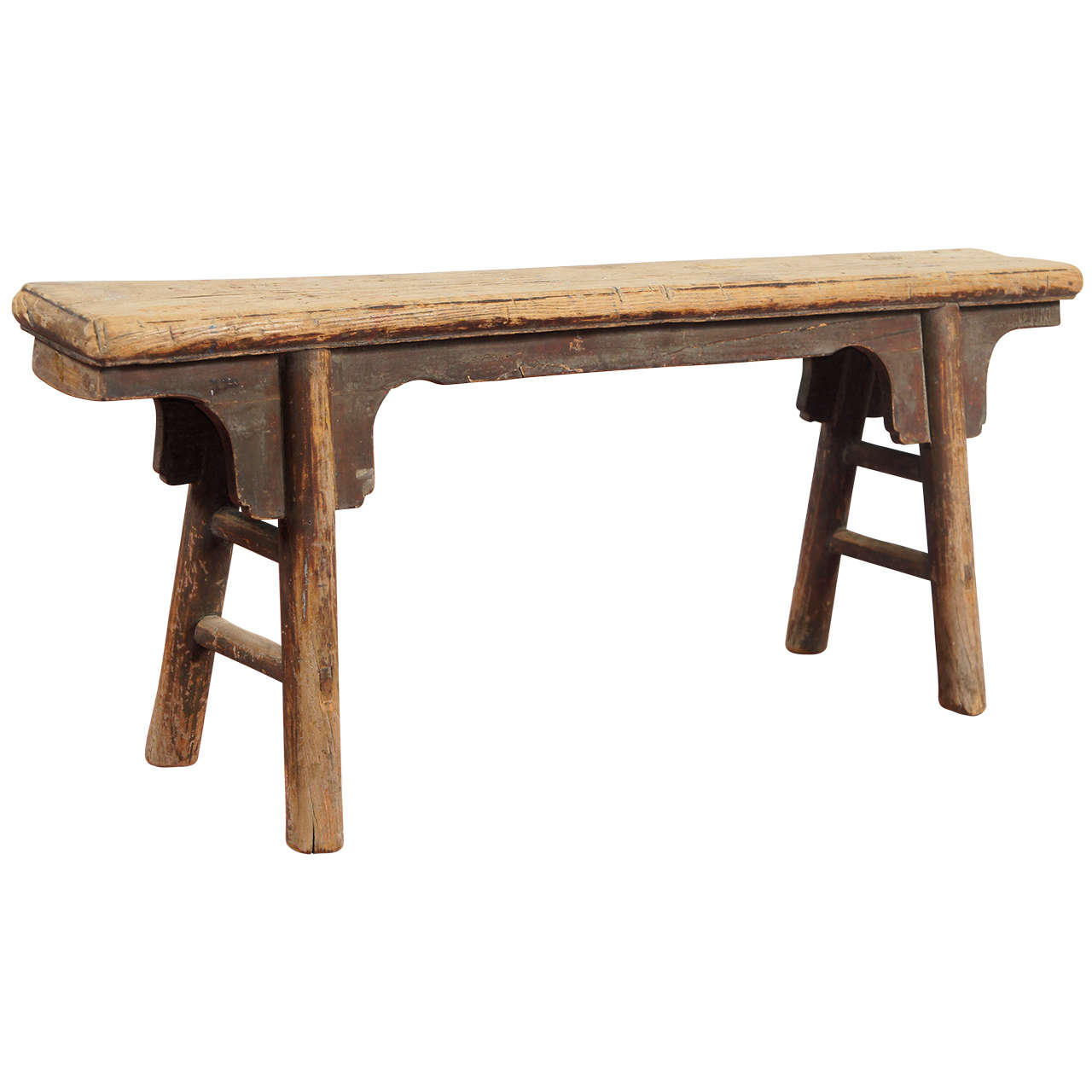 19th Century Primitive Chinese Wood Bench At 1stdibs
