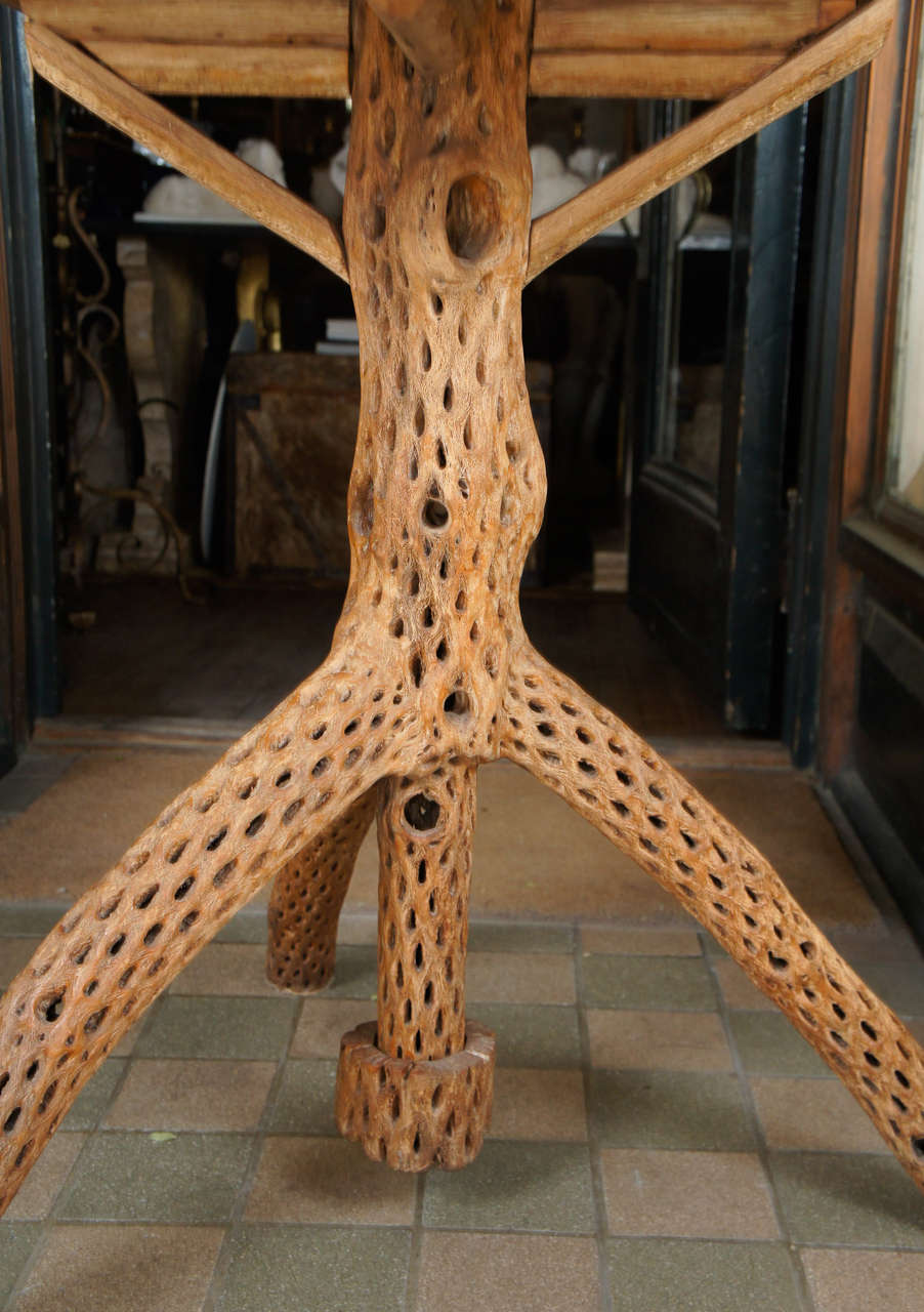 Vintage Southwest Saguaro Wood Tripod Gueridon For Sale At