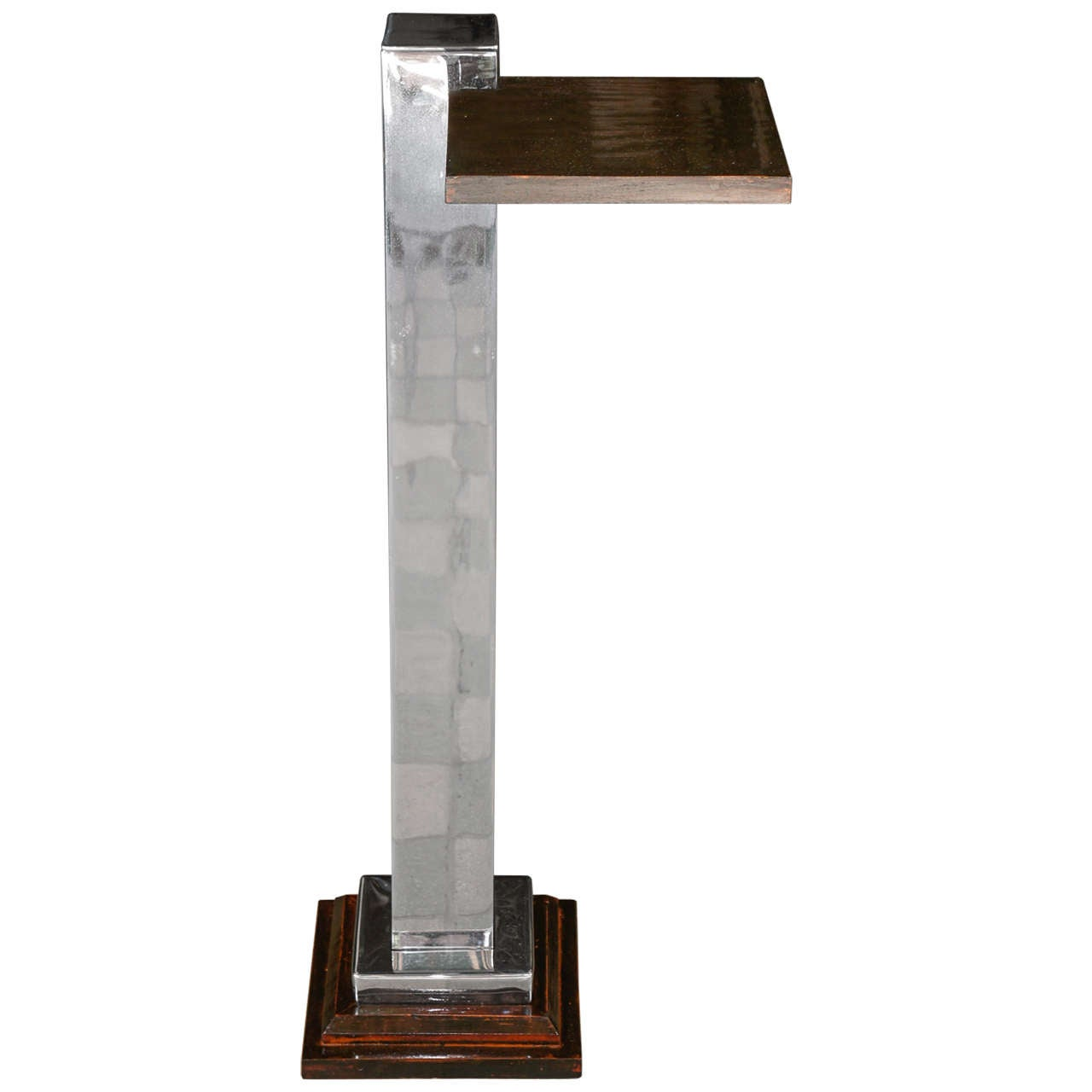 Chromed Steel & Faux Rosewood Candle Stand