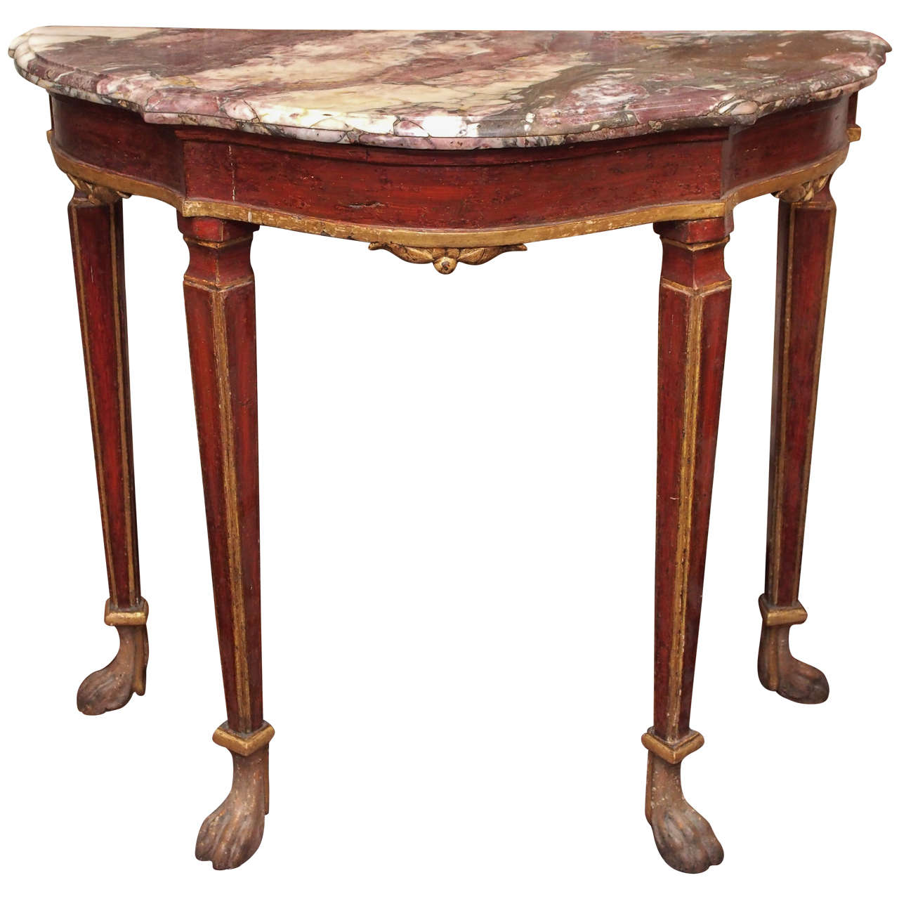 Small venetian painted console table with marble top for sale at small venetian painted console table with marble top 1 geotapseo Gallery