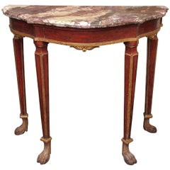Small Venetian Painted Console Table with Marble Top