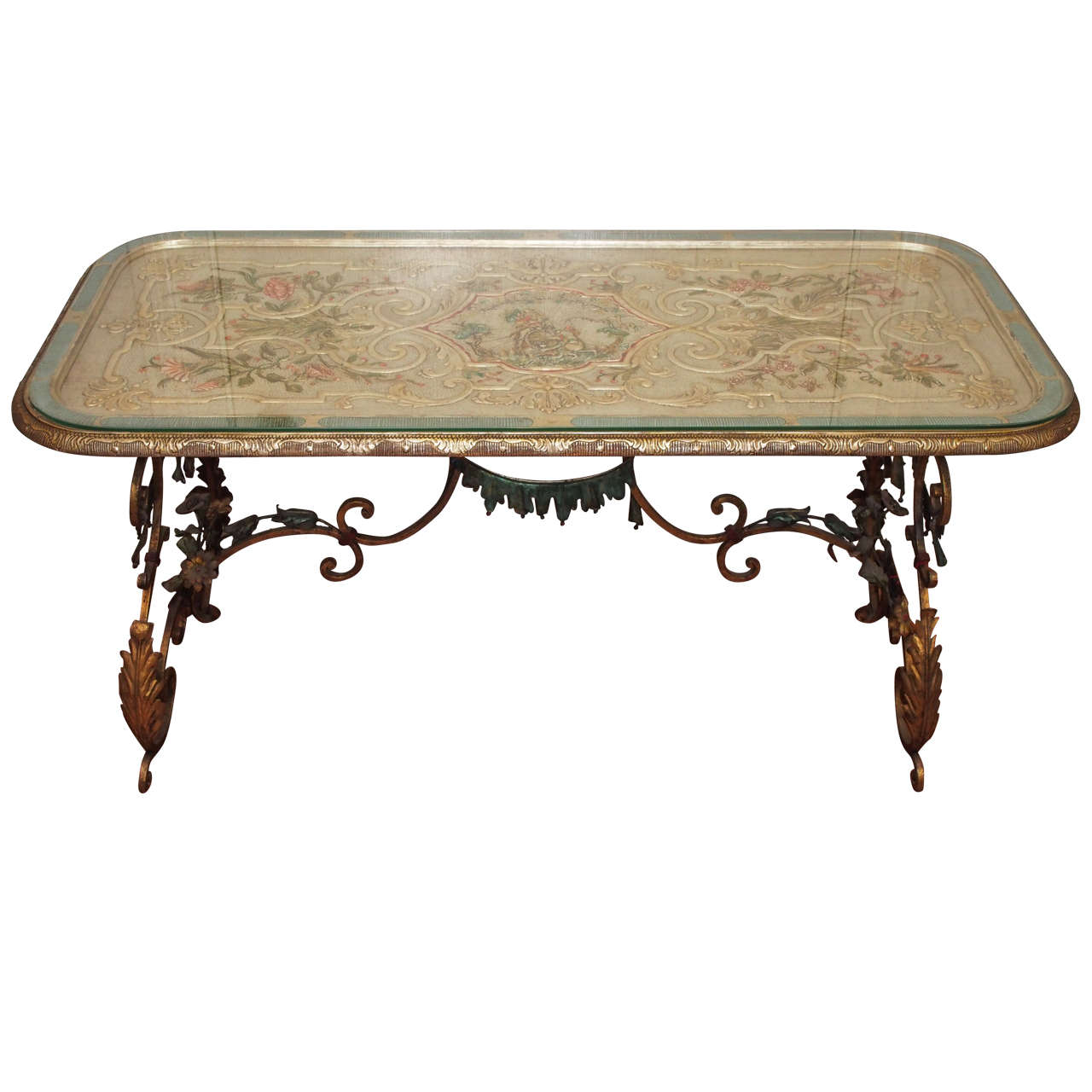 French Gilt Coffee Table: French Carved Silver Gilt And Polychrome Coffee Table With