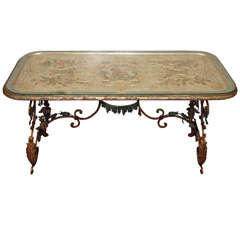 French Carved Silver Gilt and Polychrome Coffee Table with Monkeys Drinking