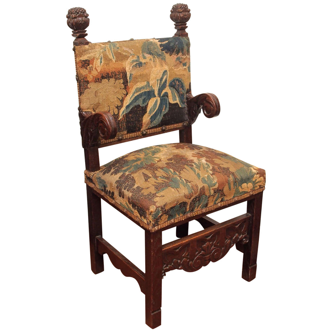 french oak chair with tapestry fragment upholstery for sale at 1stdibs. Black Bedroom Furniture Sets. Home Design Ideas