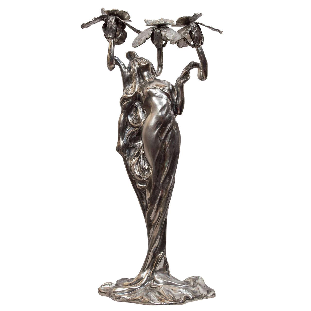 Art Nouveau Figure of a Young Woman