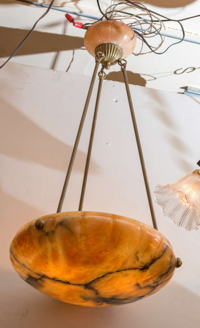 Alabaster Pendant Or Bowl Chandelier With Art Deco Design