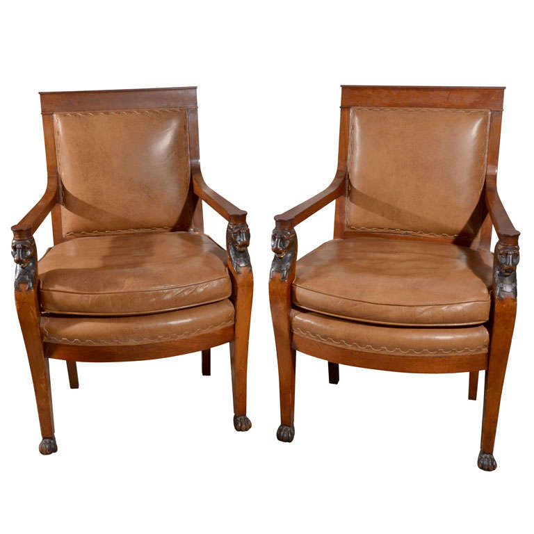 Pair Charles X Arm Chairs Lion S Head Supports At 1stdibs