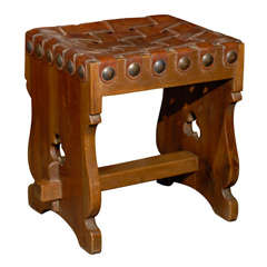 Spanish Woven Leather Top Stool with Trestle Base and Pierced Motifs
