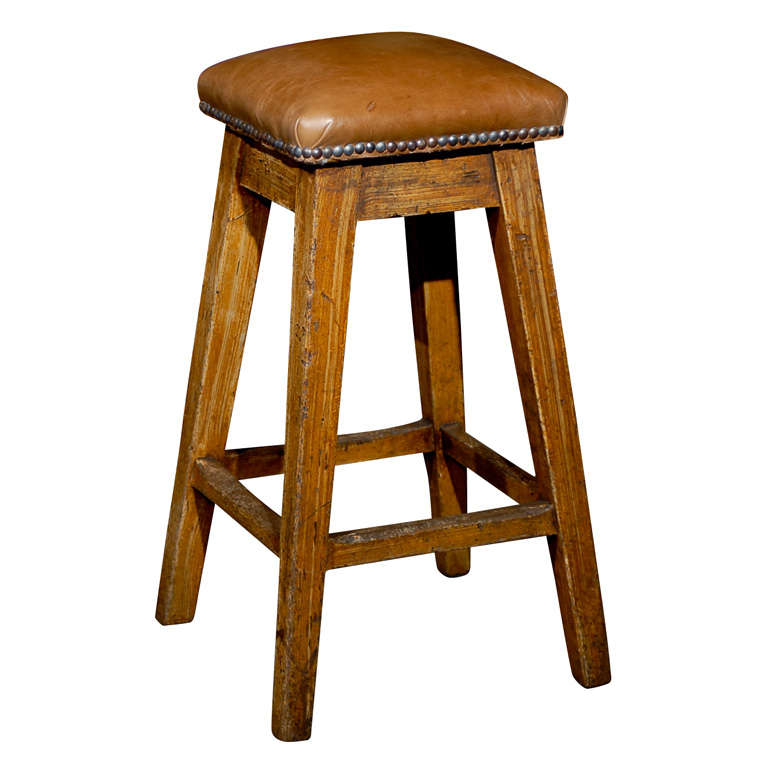 19th Century Caramel Colored Leather Top Barstool With Grain Painted Legs  For Sale