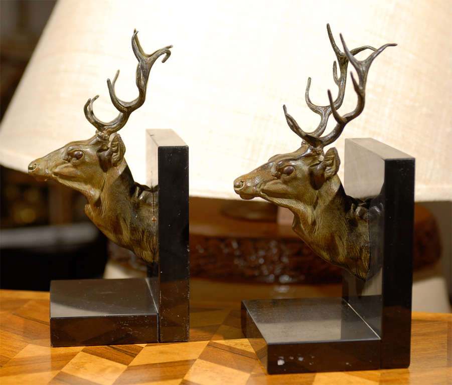 Pair of bronze stag head bookends at 1stdibs - Stag book ends ...
