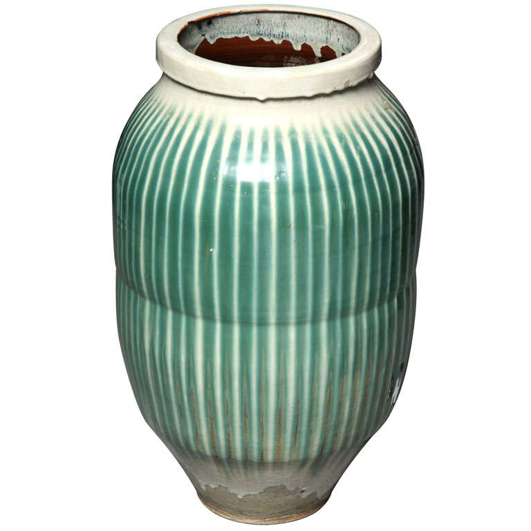 1870s Japanese Shigaraki Ceramic Storage Jar with Celadon Glaze, Meiji Period