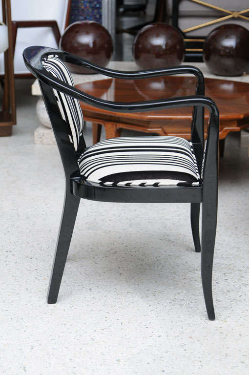 Mid-20th Century Set of Ten Ebonized Armchairs in the Style of Ed Wormley for Dunbar For Sale