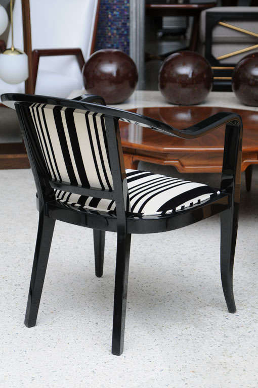 Upholstery Set of Ten Ebonized Armchairs in the Style of Ed Wormley for Dunbar For Sale