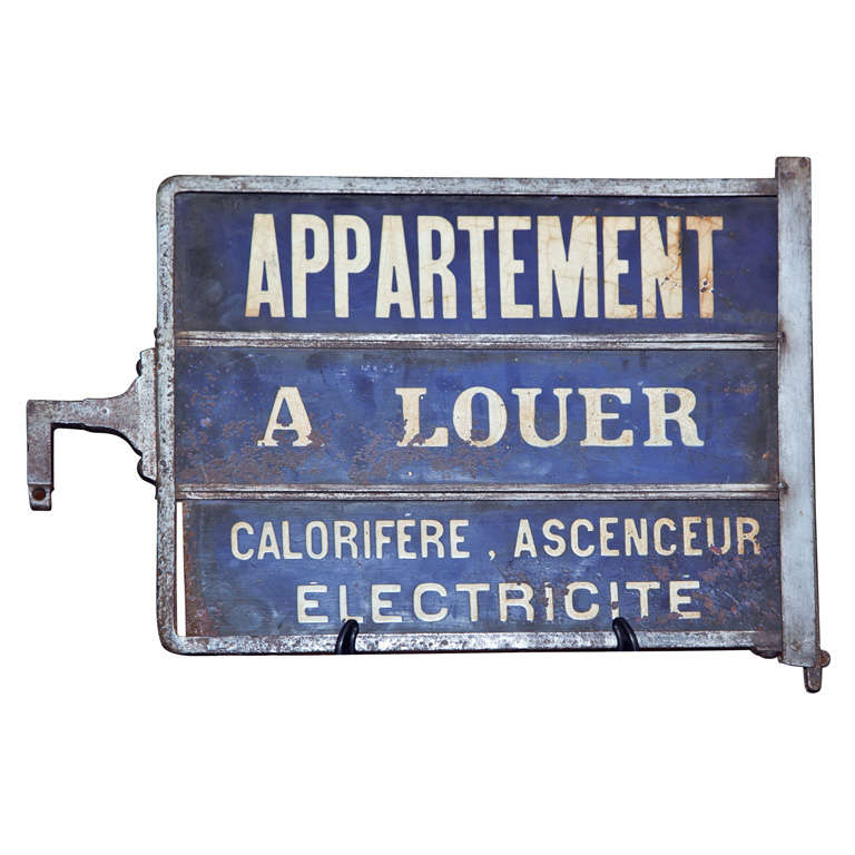 "Apartment For Rent Sign: French ""Apartment For Rent"" Sign, C. 1900-20 At 1stdibs"