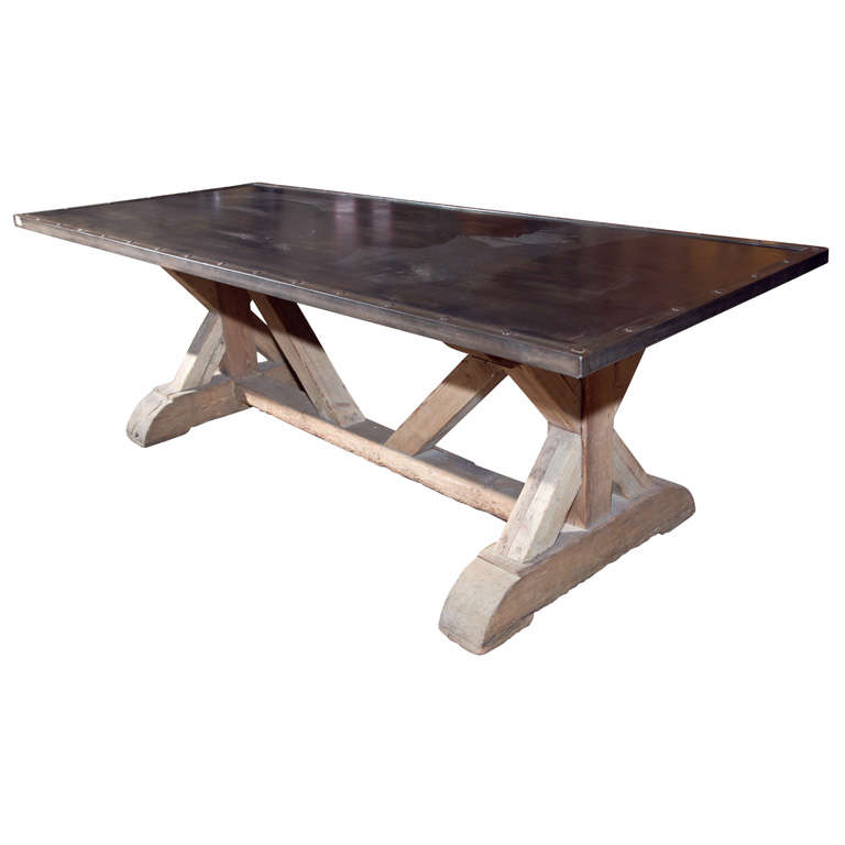 Industrial style steel top dining table for Industrial style dining room tables