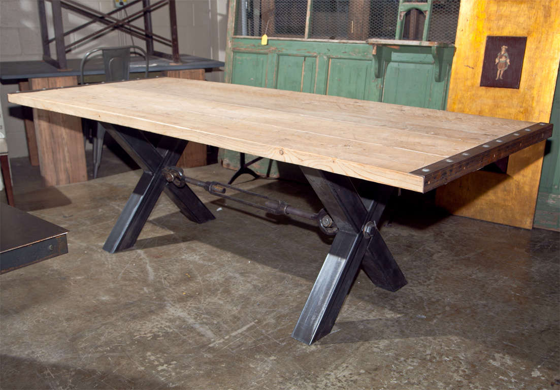 Industrial style steel base dining table at 1stdibs for Industrial style dining room tables
