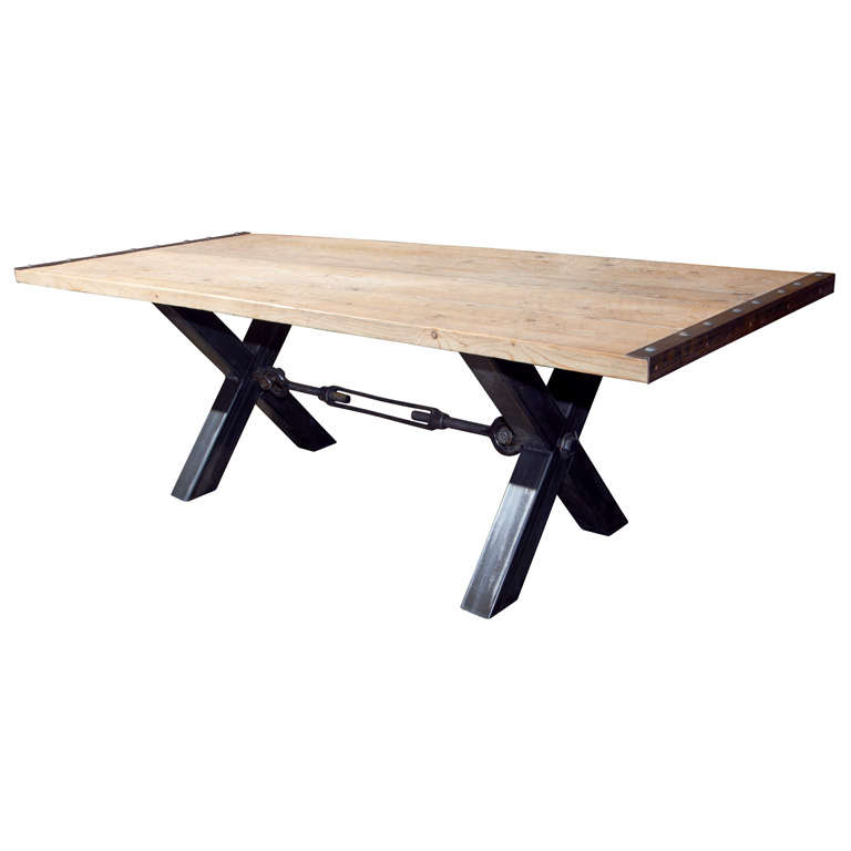 Industrial Style Steel Base Dining Table At 1stdibs