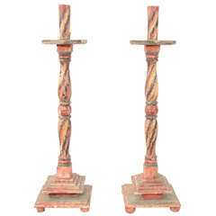Pair of Antique Wood Carved Altar Candlesticks