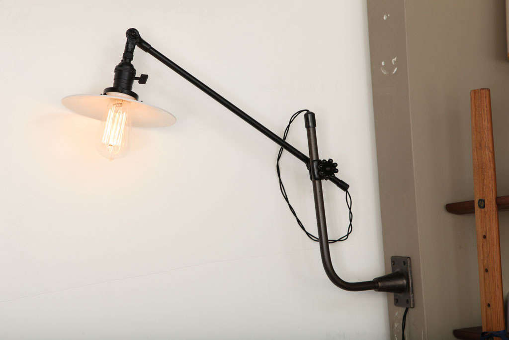 vintage industrial wall mount swing arm lamp by o c white usa circa. Black Bedroom Furniture Sets. Home Design Ideas