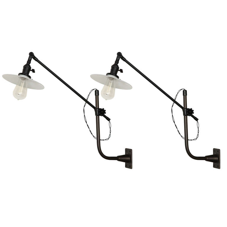 Vintage OC White Industrial Wall-Mount Swing-Arm Lamp For Sale