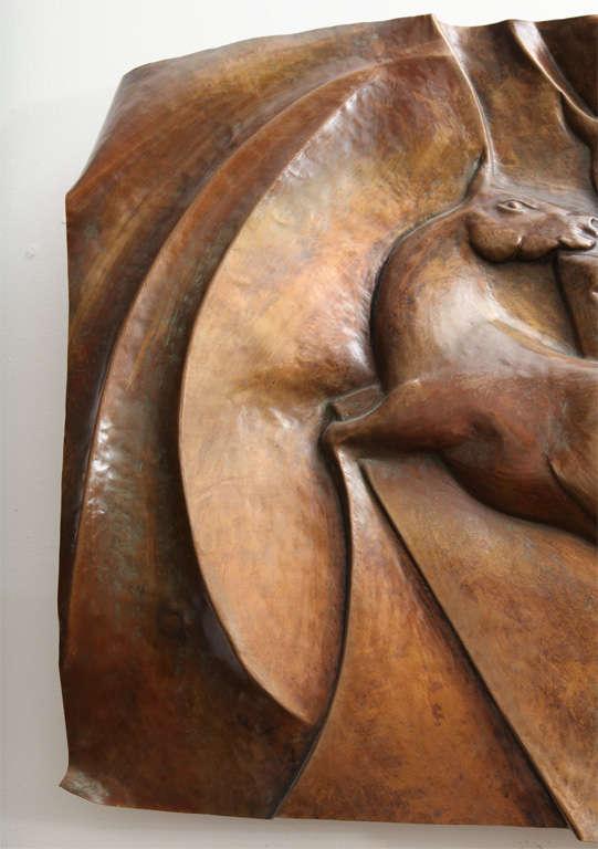 Italian 1960s Patinated Copper Wall Sculpture of Unicorns 4