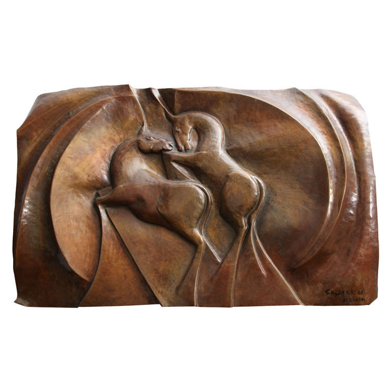 Italian 1960s Patinated Copper Wall Sculpture of Unicorns For Sale