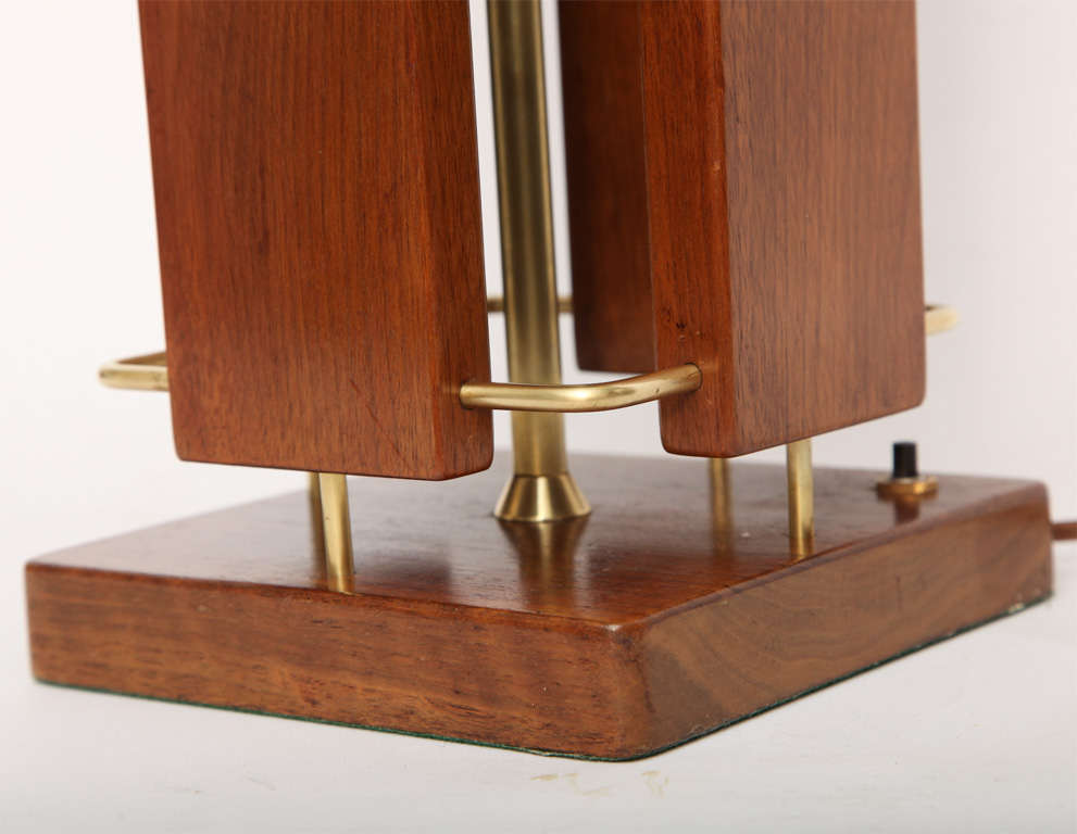 1950s Architectural Wood and Brass Table Lamp For Sale 1