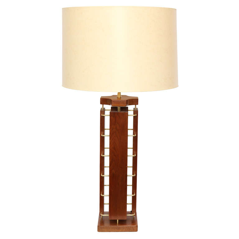 1950s Architectural Wood and Brass Table Lamp