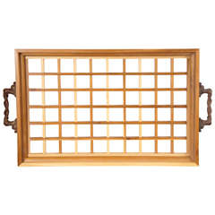 """Wooden Serving Tray with """"Dragon"""" Brasses"""