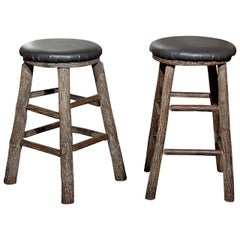 10 Round Rustic Vintage Bar Stools with Tree Logs Legs from the 20th Century