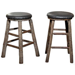 12 Round Rustic Vintage Bar Stools with Tree Logs Legs from the 20th Century