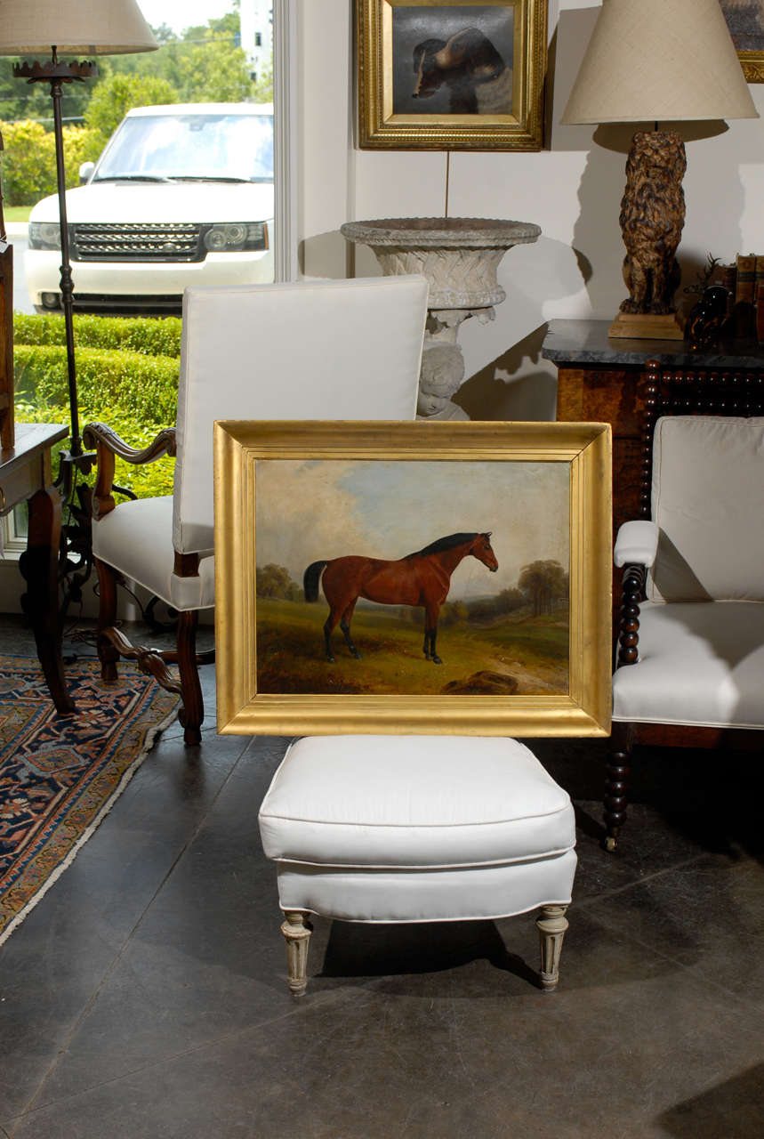 English oil painting of a horse in landscape by E.W. Webb  1801-1850.