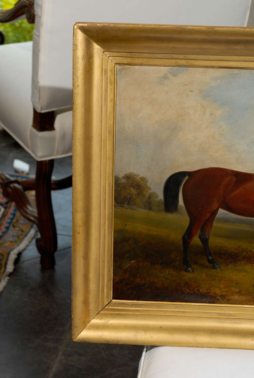 British English Painting of Horse in Landscape
