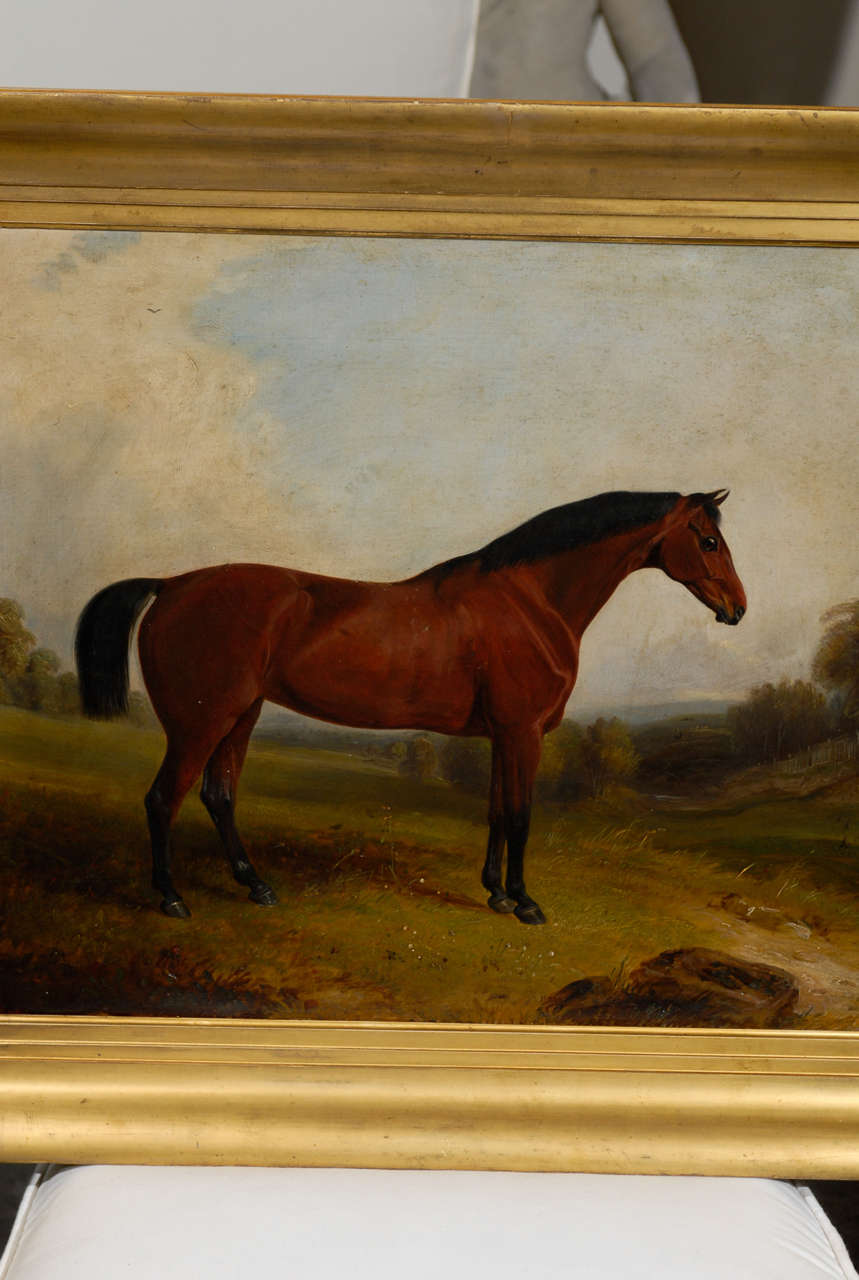 English Painting of Horse in Landscape In Excellent Condition In Atlanta, GA