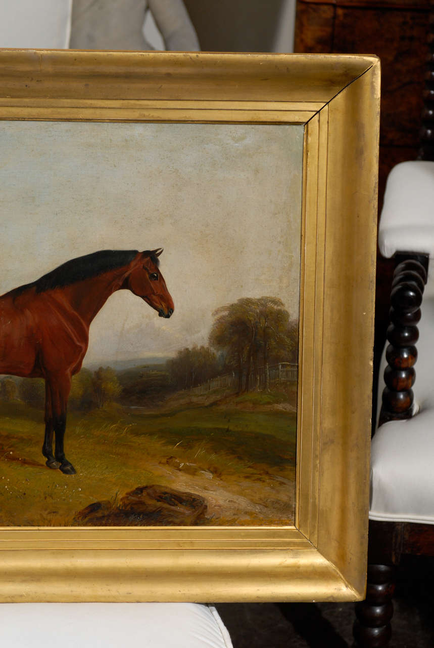 19th Century English Painting of Horse in Landscape